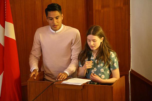 Elevrådsrepræsentanternes tale ved dimissionen